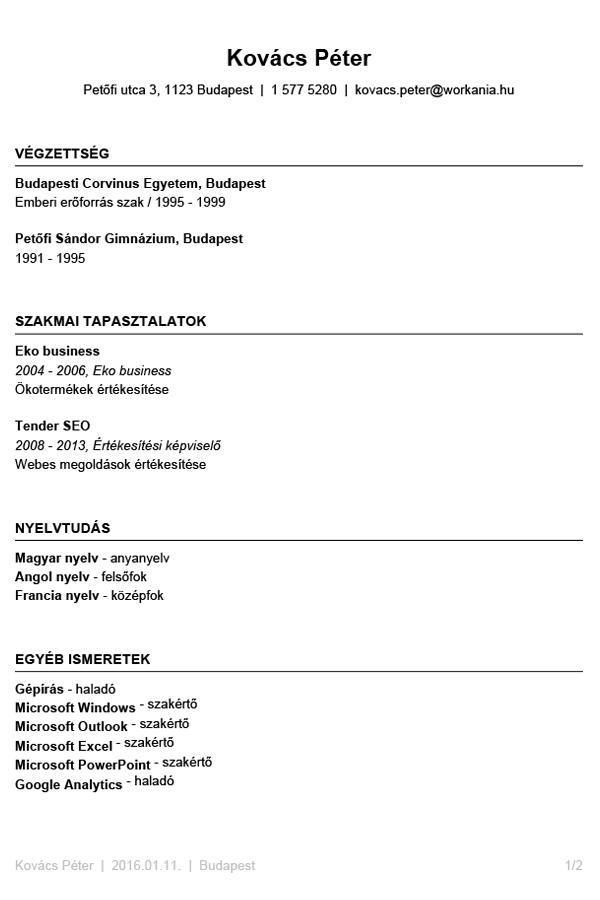 önéletrajz minta pdf Writing a professional CV | WORKANIA.HU önéletrajz minta pdf
